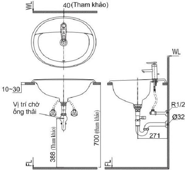 Bản vẽ cách lắp đặt lavabo âm bàn đá